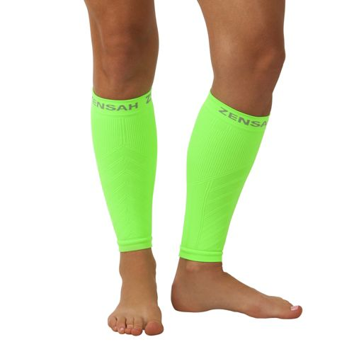 Zensah Compression Leg Sleeves Injury Recovery - Neon Green L/XL