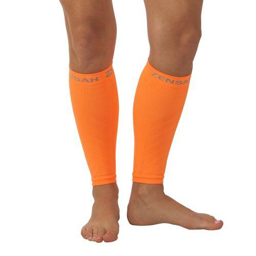 Zensah Compression Leg Sleeves Injury Recovery - Neon Orange S/M