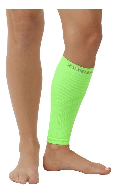 Zensah Shin/Calf Support Compression Sleeve Injury Recovery - Neon Green S/M