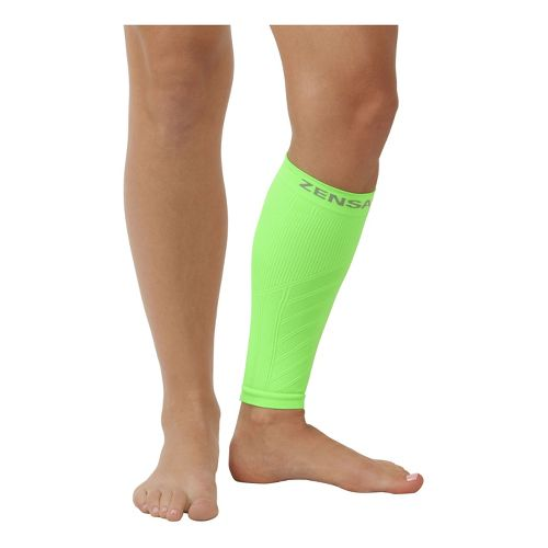 Zensah Shin/Calf Support Compression Sleeve Injury Recovery - Neon Green L/XL
