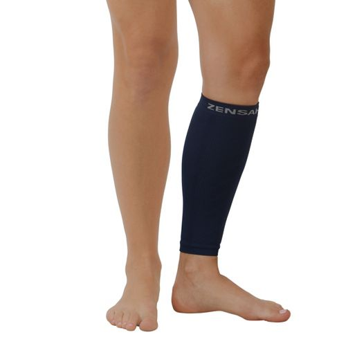 Zensah Shin/Calf Support Compression Sleeve Injury Recovery - Navy L/XL