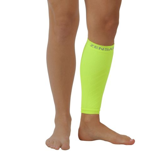 Zensah Shin/Calf Support Compression Sleeve Injury Recovery - Neon Yellow S/M