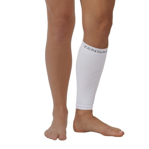 Zensah Shin/Calf Support Compression Sleeve Injury Recovery - White XS/S