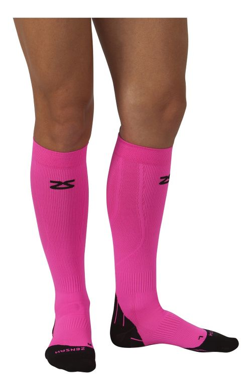 Zensah Tech+ Compression Socks Injury Recovery - Neon Pink L