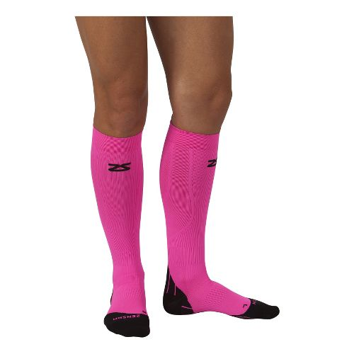 Zensah Tech+ Compression Socks Injury Recovery - Neon Pink S