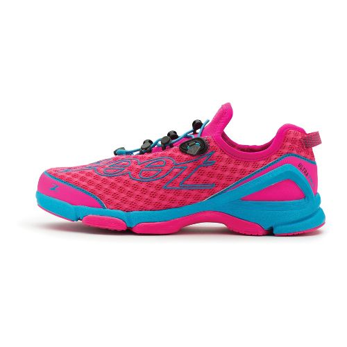 Womens Zoot Ultra TT 6.0 Running Shoe - PinkGlo/Atomic Blue 7.5