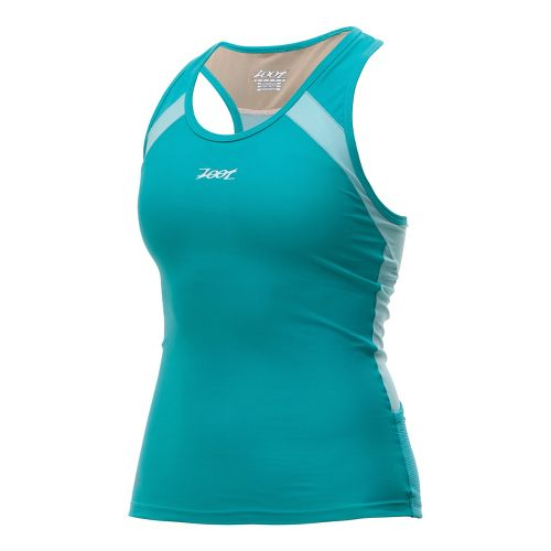 Womens Zoot Performance Tri Racerback Sport Top Bras - Aruba/Beach Glass XS
