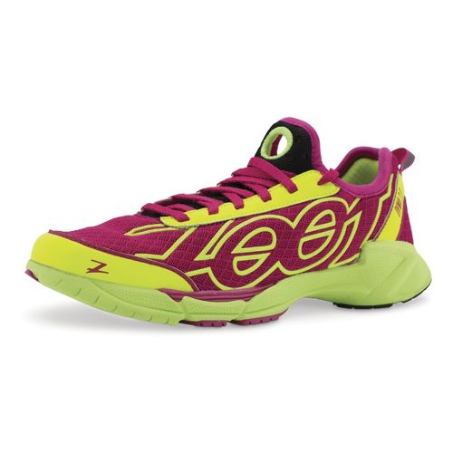 Womens Zoot OVWA 2.0 Running Shoe - Safety Yellow/Beet 8.5