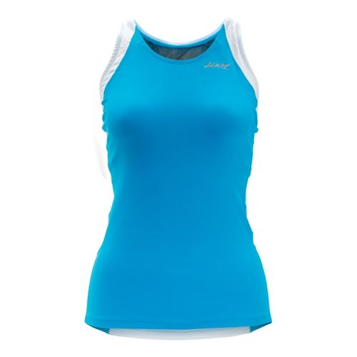 Womens Zoot Performance Tri Racerback Tanks Technical Tops - Atomic Blue/White XS