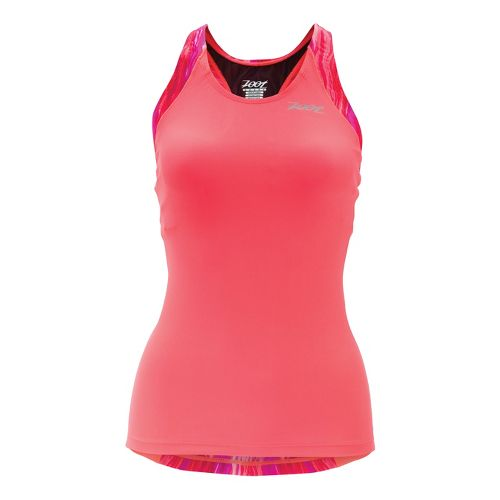 Womens Zoot Performance Tri Racerback Tanks Technical Tops - Hot Coral/Fire Print XS
