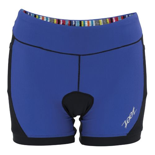 Womens Zoot Performance Tri 4 Inch Fitted Shorts - Black/Violet Blue XS