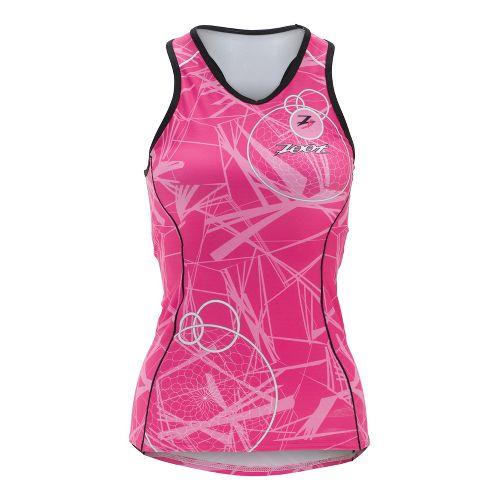 Womens Zoot ULTRA Tri BCRF Racerback Singlets Technical Tops - Pink L
