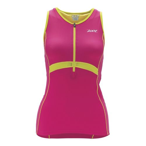 Womens Zoot Performance Tri Tank Sport Top Bras - Beet/Flash XL