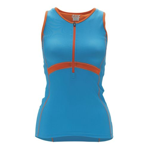 Womens Zoot Performance Tri Tank Sport Top Bras - Splash/Flame M