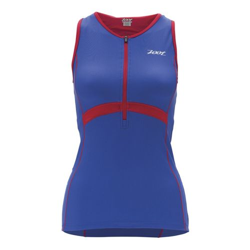 Womens Zoot Performance Tri Tank Sport Top Bras - Violet Blue/Zoot Red M