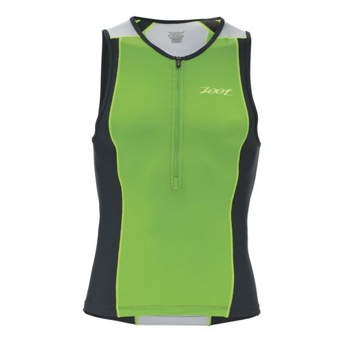 Mens Zoot Performance Tri Tanks Technical Tops - Green Flash/Pewter XS