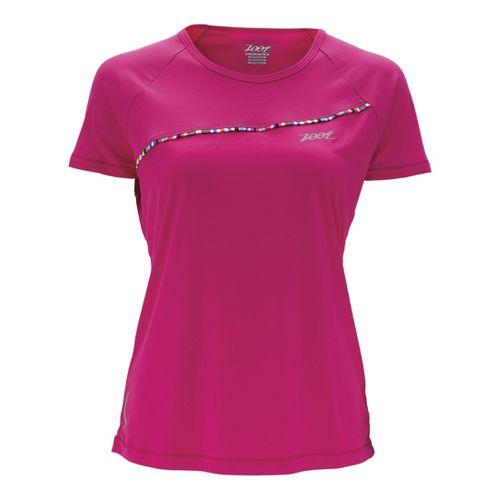 Womens Zoot Ultra Run Icefil Tee Short Sleeve Technical Tops - Beet M