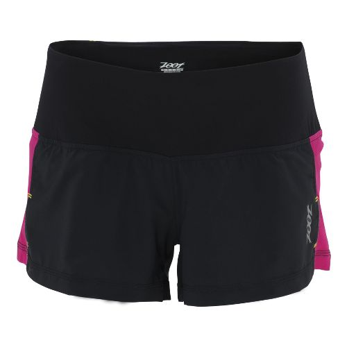 Womens Zoot W Ultra Run Icefil 3 Inch Lined Shorts - Black/Beet XS