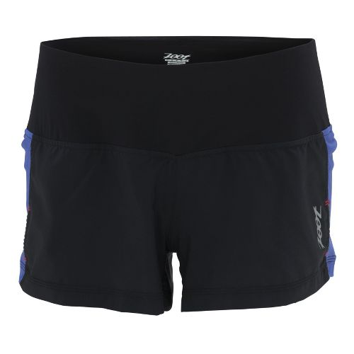 Womens Zoot W Ultra Run Icefil 3 Inch Lined Shorts - Black/Violet Blue L