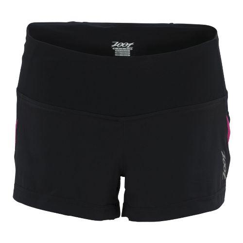 Womens Zoot Ultra Run Icefil 3 Inch 2-in-1 Shorts - Black/Beet L