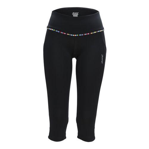 Womens Zoot Ultra Run Pulse Capri Tights - Black/Beet L