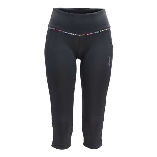 Womens Zoot Ultra Run Pulse Capri Tights - Pewter/Flame S