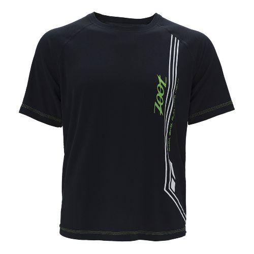 Mens Zoot Ultra Run Icefil Mesh Tee Short Sleeve Technical Tops - Black/Green Flash XL ...