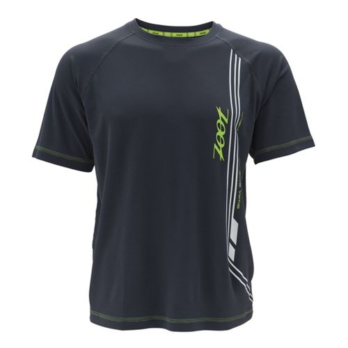 Mens Zoot Ultra Run Icefil Mesh Tee Short Sleeve Technical Tops - Pewter/Safety Yellow S ...