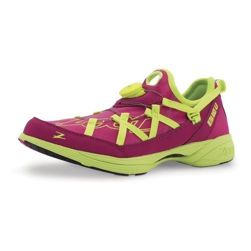 Womens Zoot Ultra Race 4.0 Running Shoe - Beet/Safety Yellow 7.5