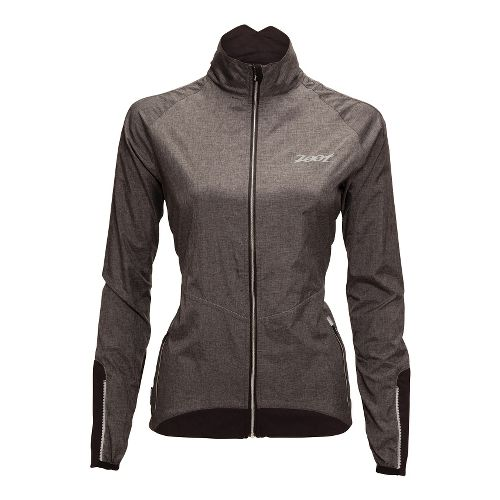 Womens Zoot ULTRA FLEXwind Running Jackets - Black/Heather Black M
