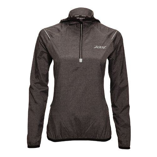 Womens Zoot ETHERwind Long Sleeve 1/2 Zip Technical Tops - Black Heather XL