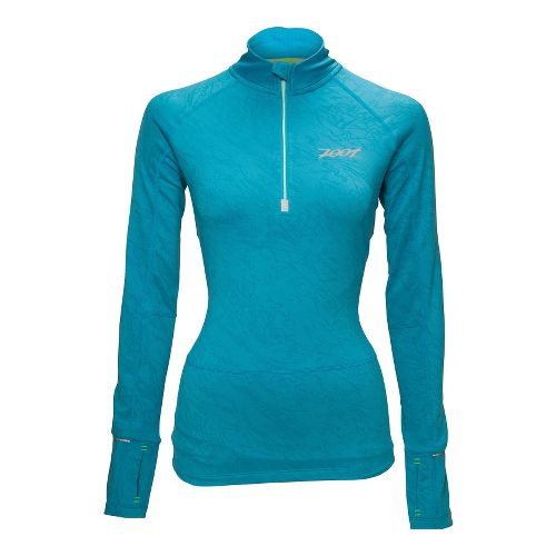 Womens Zoot ULTRA MEGAheat Long Sleeve 1/2 Zip Technical Tops - Splash M