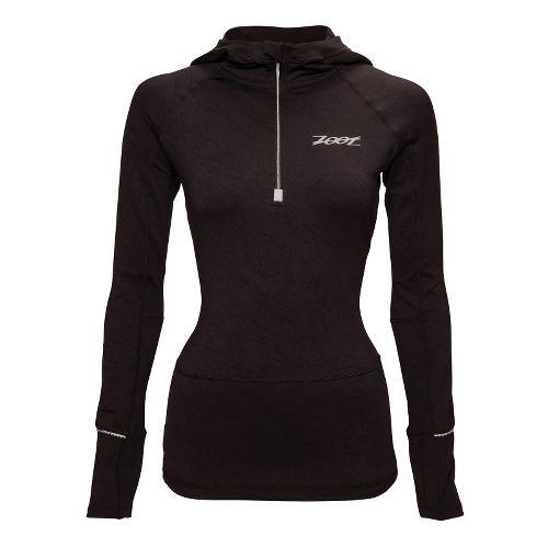 Womens Zoot ULTRA MEGAheat Hoodie Long Sleeve 1/2 Zip Technical Tops - Black L