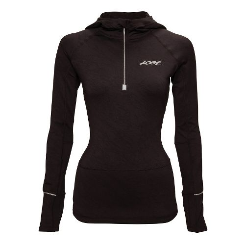 Womens Zoot ULTRA MEGAheat Hoodie Long Sleeve 1/2 Zip Technical Tops - Black S