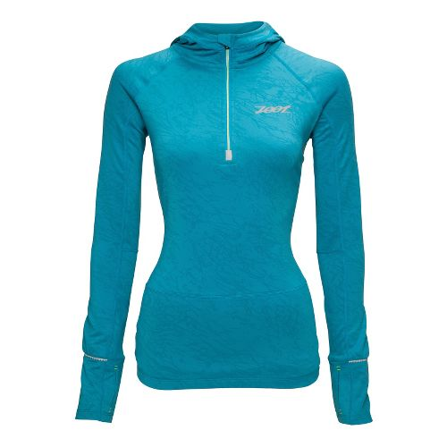 Womens Zoot ULTRA MEGAheat Hoodie Long Sleeve 1/2 Zip Technical Tops - Splash M