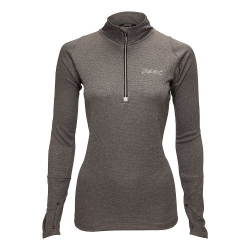 Womens Zoot MICROlite+ Long Sleeve 1/2 Zip Technical Tops - Black Heather XL