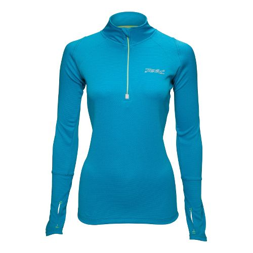 Womens Zoot MICROlite+ Long Sleeve 1/2 Zip Technical Tops - Splash L