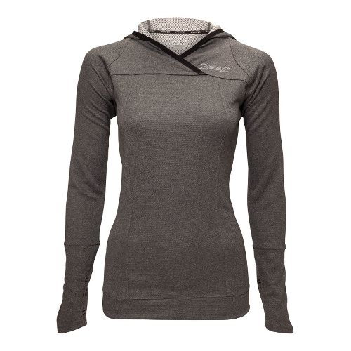 Womens Zoot MICROlite+ Hoodie Long Sleeve No Zip Technical Tops - Black Heather XS