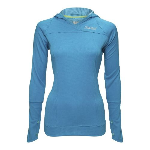 Womens Zoot MICROlite+ Hoodie Long Sleeve No Zip Technical Tops - Splash XXL