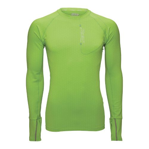 Mens Zoot ULTRA MEGAheat Tee Long Sleeve No Zip Technical Tops - Green Flash M ...