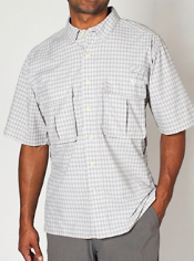 The Air Strip Micro Plaid Short-Sleeve Shirt features Drylite fabric, which ...