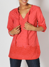 Look and feel like a seasoned traveler in the Razi Tunic. The fun batik print...