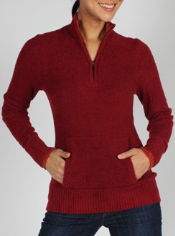 Stay cozy in the Irresistible Neska 1/4 Zip Sweater. It features a kangaroo ...