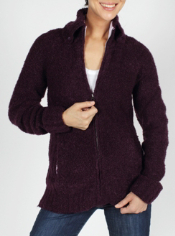 The Chaleur Boucle Zip Front Sweater features a soft wool blend that will ...