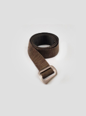 With a brushed aluminum buckle, this belt is a durable way to cinch up.