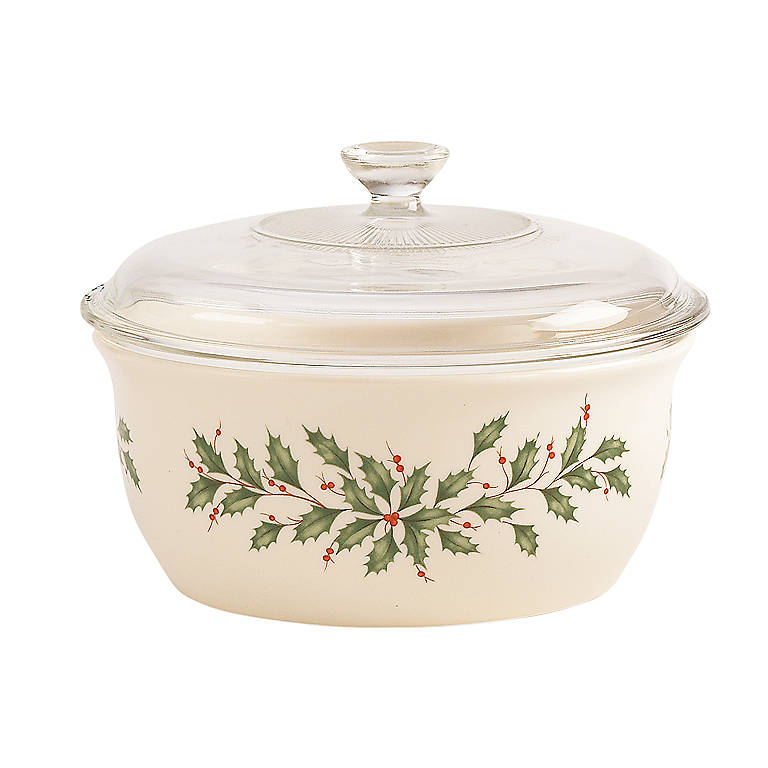 Ivory China Lenox Holiday Casserole with Glass Lid, Dinnerware Serving Pieces by Lenox