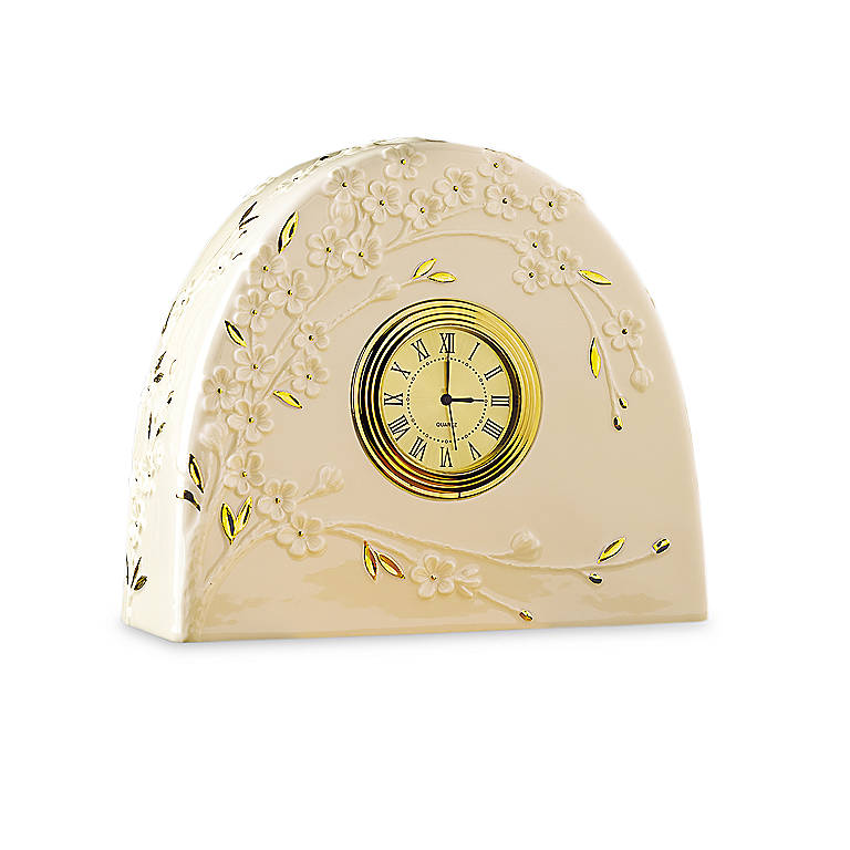 Ivory China Cherry Blossom Clock by Lenox, Home Decorating Clocks by Lenox