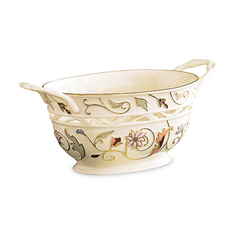 Ivory China Lenox Gilded Garden Basket, Home Decorating Baskets by Lenox
