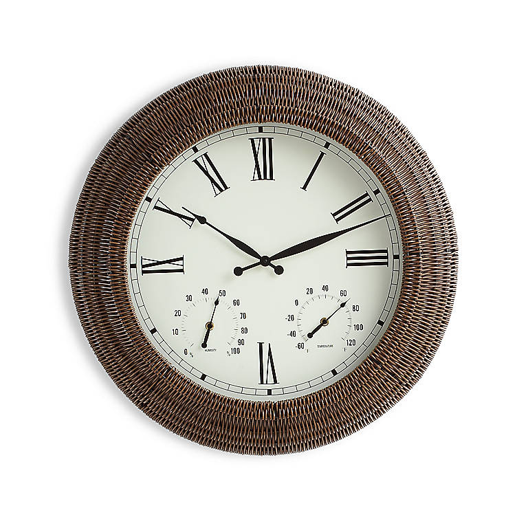 Miscellaneous Oversized Outdoor Rattan Wall Clock, Home Decorating Clocks by Lenox