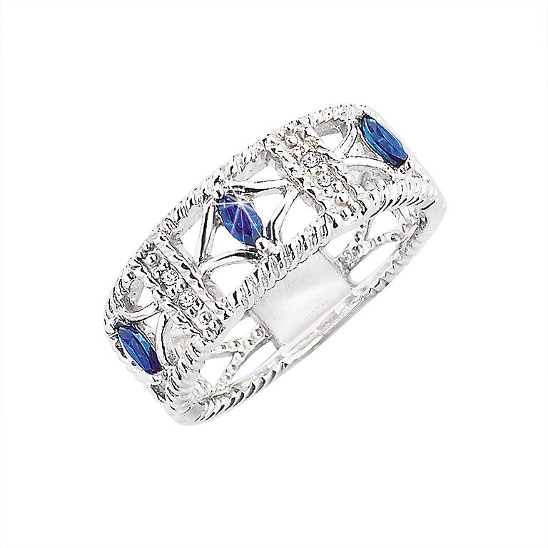 Sterling Silver Lenox Sapphire Serenade Ring, Costume Jewelry by Lenox
